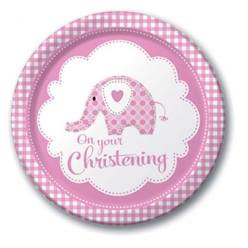 SWEET ELEPHANT ON YOUR CHRISTENING PINK PLATES